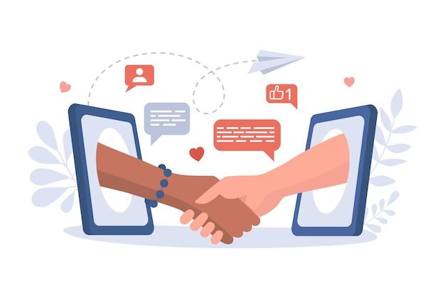 Kommunikation, konversation und freundschaft im internet