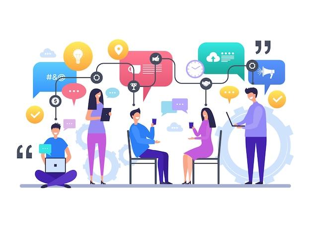 Kommunikation menschen. unterhaltung, plaudernde globale diskussionsvektorcharakter-konzeptszene des sozialen netzes