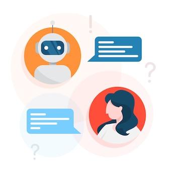 Kommunikation mit einem chatbot-konzept. kundendienst
