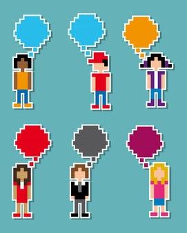 Kommunikation pixel design über blauem hintergrund