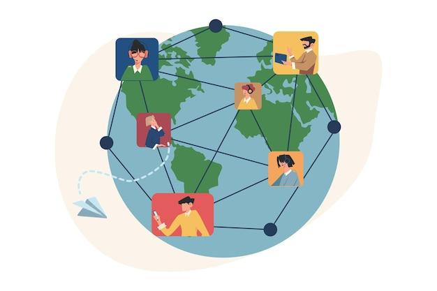 Kommunikation über das internet soziale netzwerke auf der ganzen welt