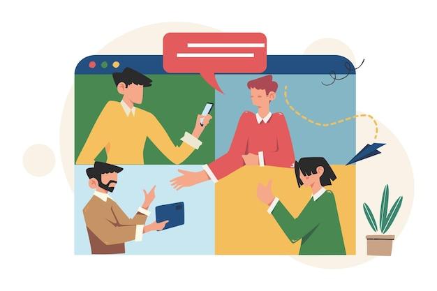 Kommunikation über das internet, soziale netzwerke, nachrichten, websites, mobile webgrafiken