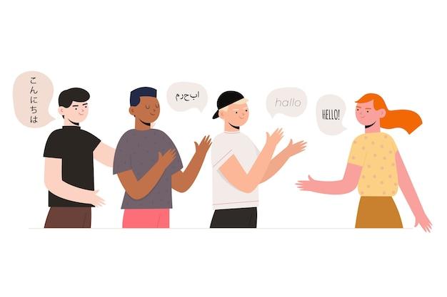 Kommunikation und verbindung mit menschen, die in verschiedenen sprachen sprechen