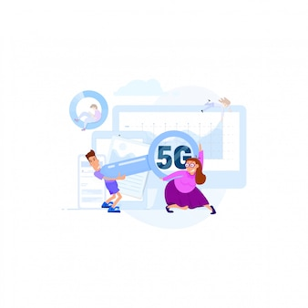 Kommunikation von menschen durch schnelle verbindung wi-fi-konzept 5g