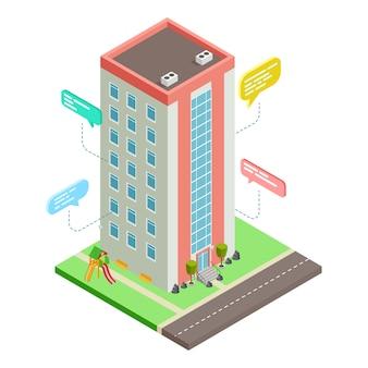 Kommunikation zwischen nachbarn, isometrisches konzept des sozialen netzwerks des nachbarschaftsnetzwerks