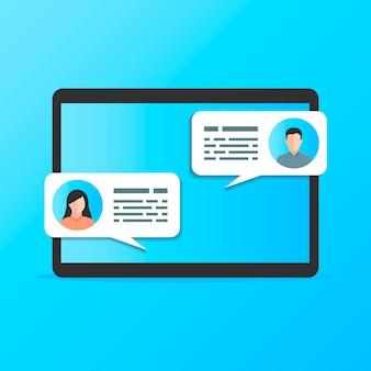 Kommunikation zwischen zwei leuten auf einer blauen bildtablette.