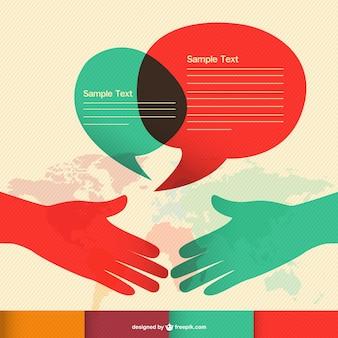 Kommunikations hand schütteln infografik