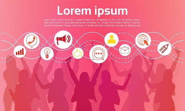 Kommunikations-ikone der schattenbild-leute-gruppen-tanzen-nachtclub-licht-social network
