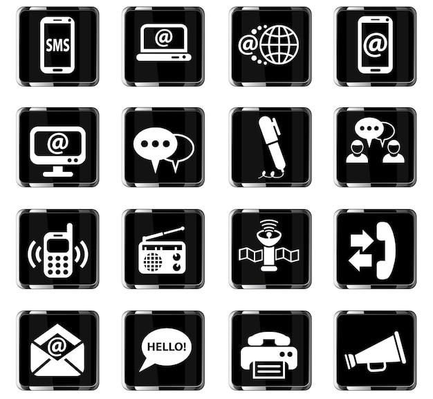 Kommunikations-websymbole für das design der benutzeroberfläche