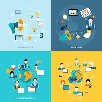 Kommunikationselemente zusammensetzung flach gesetzt