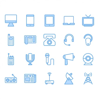Kommunikationsgerät-ikonensatz auch im corel abgehobenen betrag