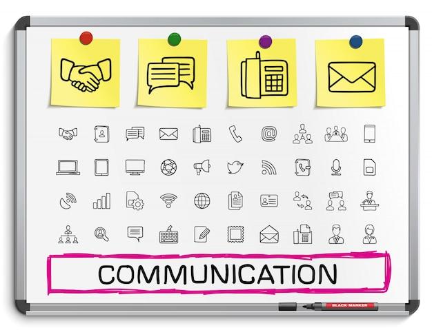 Kommunikationshandzeichnungsliniensymbole. gekritzelpiktogrammsatz, skizzenzeichenillustration auf weißer markierungstafel mit papieraufklebern, geschäft, soziale medien