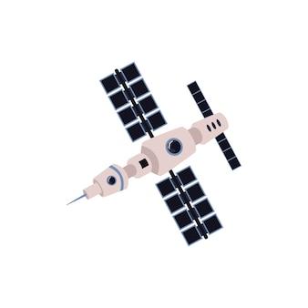 Kommunikationsraumsatellit mit sonnenkollektorikone flache vektorillustration lokalisiert auf weißem hintergrund. einrichtungen oder geräte der internet-kommunikationstechnologie.