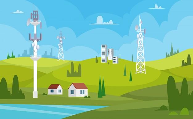Kommunikationstürme. drahtlose antennen zellularer wifi-radiosender, der internetkanalempfänger-karikaturhintergrund sendet