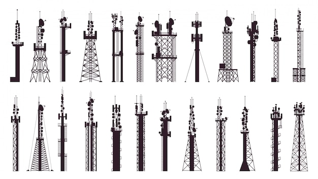 Kommunikationsturmantenne. broadcast-technologie tv, radiosignalstation. drahtlose mobilfunkmast-illustrationssymbole eingestellt. broadcast-ausrüstung, drahtlose technologie für das internet