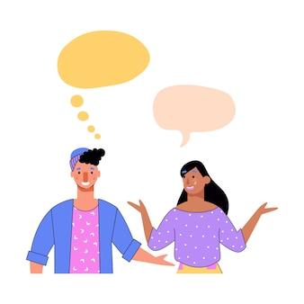 Kommunikationsvorlage des karikaturpaares