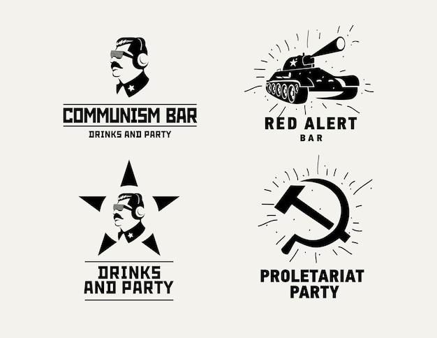 Kommunismus stil logos restaurant bar design vektor vorlage