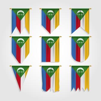 Komoren flagge in verschiedenen formen, flagge der komoren in verschiedenen formen