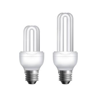 Kompakte leuchtstofflampen mit zwei vektoren auf weißem hintergrund