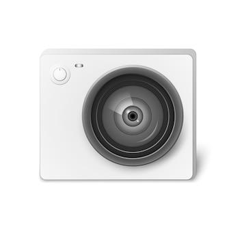 Kompakte weiße action-videokamera. foto- und videokameraausrüstung zum filmen von extremsportarten. realistische vektorabbildung getrennt