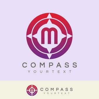 Kompass anfangsbuchstaben m logo design
