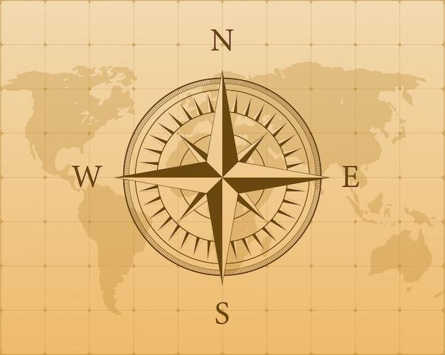 Kompass auf weißem hintergrund. flaches navigationssymbol. lager illustration.