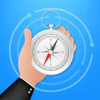 Kompass auf weißem hintergrund. flaches vektor-navigationssymbol. vektorgrafik auf lager.