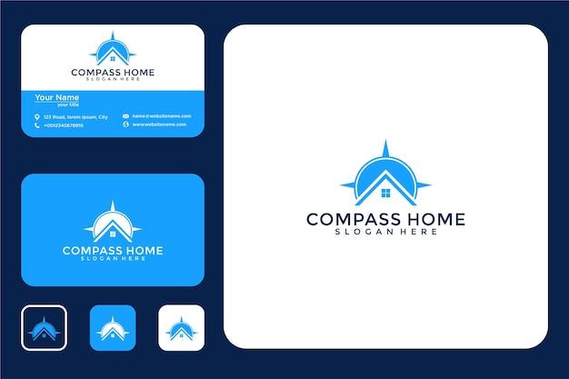 Kompass home logo-design und visitenkarte