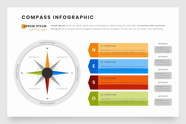 Kompass-infografiken in flachem design