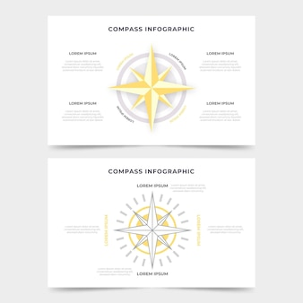 Kompass-infografiken mit flachem design
