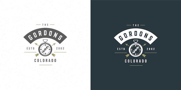 Kompass-logo emblem illustration outdoor-expedition abenteuer für hemd oder druckstempel