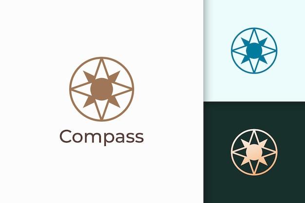Kompass-logo in moderner form stehen für reisen oder abenteuer