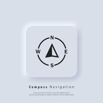 Kompass-logo. navigator-pfeilsymbol. navigationstechnologie, anpassbare darstellung der geolokalisierung. gps-guide-cursor. vektor-eps 10. ui-symbol. neumorphe ui-ux. neumorphismus
