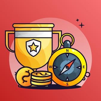 Kompass mit trophäen- und münzensteigungs-illustration