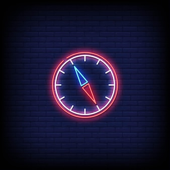 Kompass neonzeichen stil text