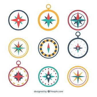Kompass-sammlung in flachen stil