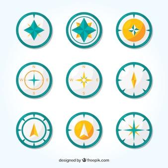 Kompass-sammlung von neun
