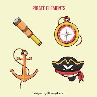 Kompass und andere handgezeichnete gegenstände