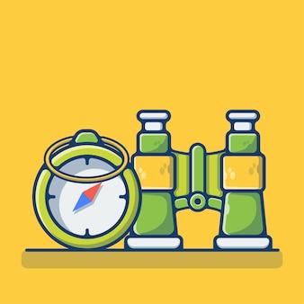 Kompass und fernglas isoliert auf gelb