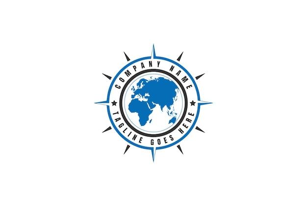Kompass und globuswelt für globale expeditionsreise-navigations-logo-design-vektor