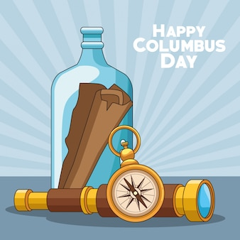 Kompass und happy columbus