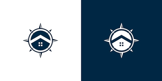 Kompass- und home-logo-design-vektor