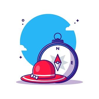 Kompass und hut cartoon illustration