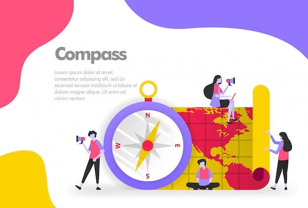 Kompass und kartenbanner