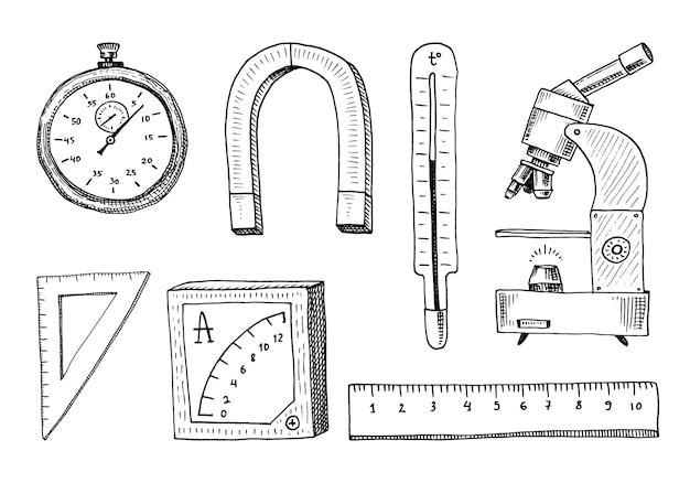Kompass und magnet, alpelmet mit thermometer und mikroskop.