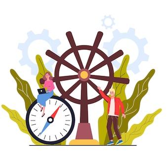 Kompass und rad. geschäftsleute führen das schiff zum profit. richtige geschäftsrichtung. geschäftskonzeptillustration.