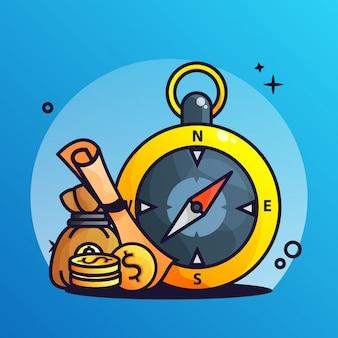 Kompass- und schatzkarte mit münzen-steigungsillustration
