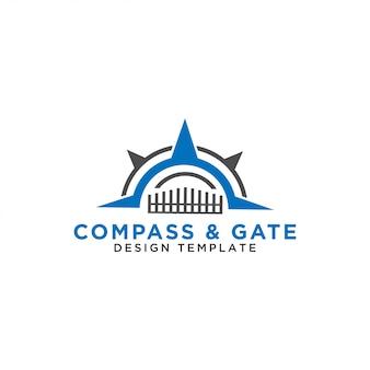Kompass und tor logo design vorlage vektor