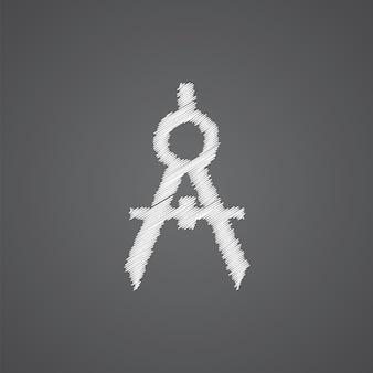 Kompasse skizzieren logo-doodle-symbol auf dunklem hintergrund isoliert