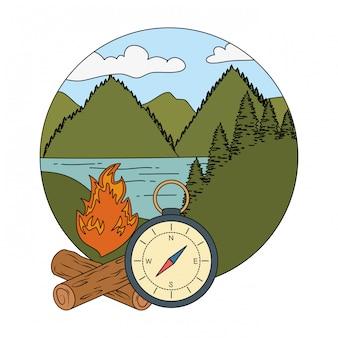 Kompassführer mit lagerfeuer